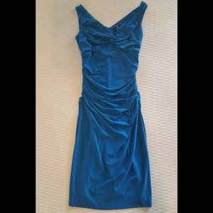 American Living blue ruched dress size 2